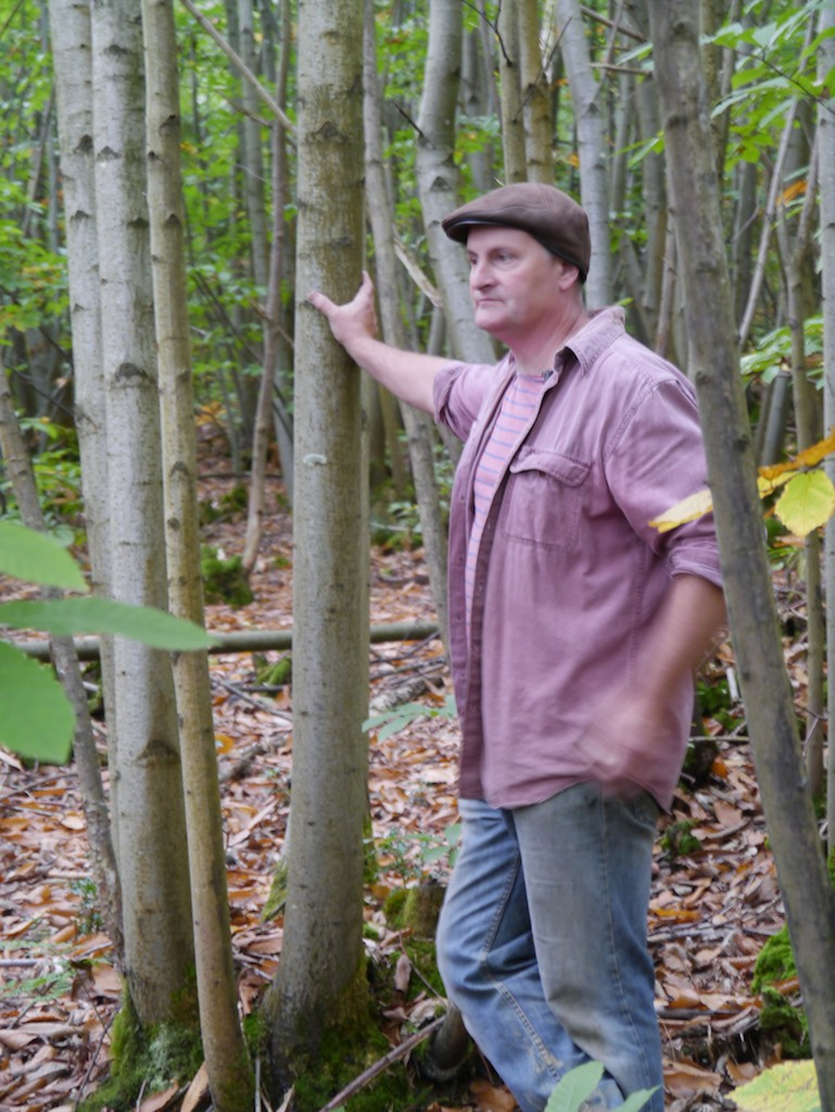 Ben in Prickly Nut Wood - a man at home in the woods.