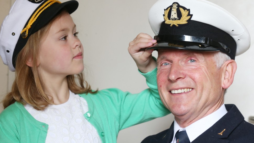Former Lighthouse Keeper Gerald Butler and a young girl, Sarah (6)