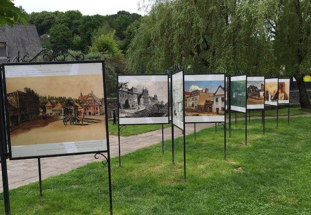 Series of interpretive panels at Kazimierz Dolny in Poland displaying artwork