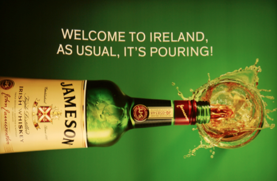 We love Jameson's whiskey for many reasons, but not least for this advert which greeted arrivals at Dublin airport for most of 2014. It is utterly brilliant. tap about turning a negative into a positive!