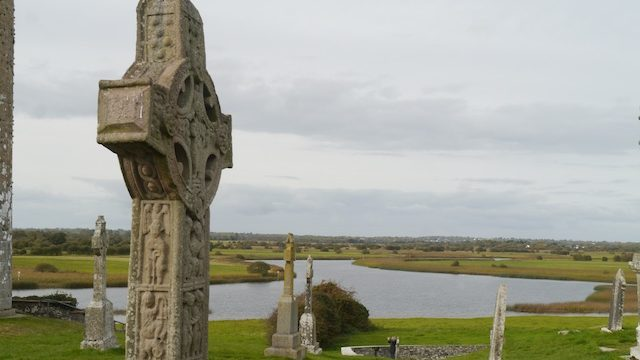 Celtic crosses beside a wide river